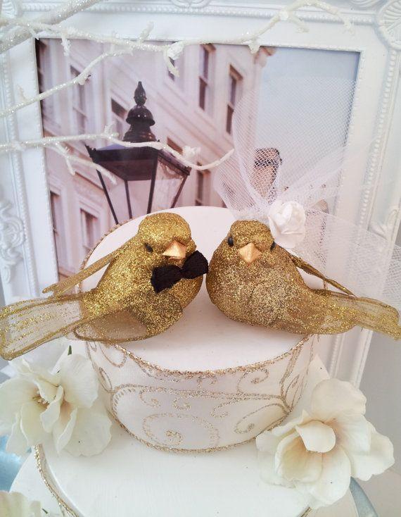 Glittery Gold Bride Amp Groom Love Birds Or Love Bird 50th