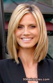medium length straight blonde