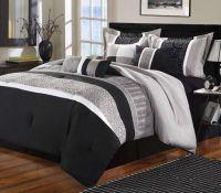Luxury Home Euphoria Black & Grey Embroidered 8-Piece ...
