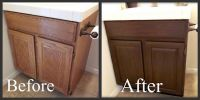 Staining oak cabinets a darker color. It minimizes the ...