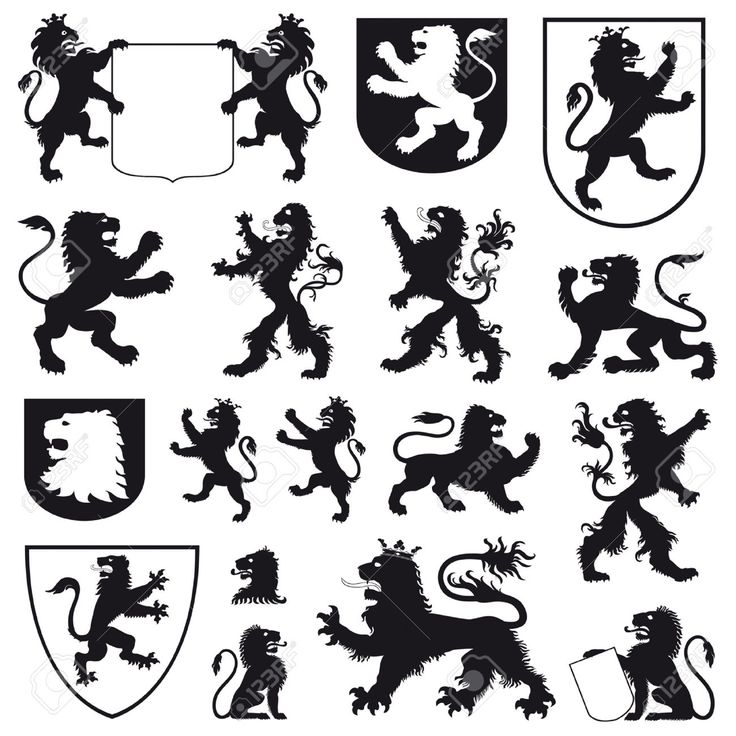 Silhouettes Of Heraldic Lions Royalty Free Cliparts