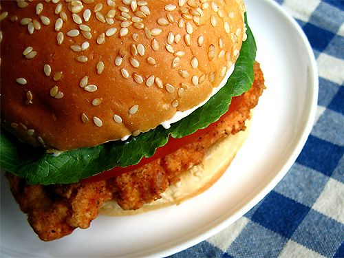 Healthy Homemade Wendys Spicy Chicken Sandwich: Baked it until cooked through then brushed them with olive oil and broiled until crispy. Very spicy &