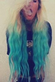 beautiful turquoise ombre hair