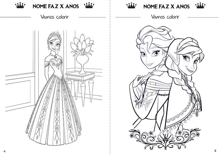 Tema Frozen. Detalhe do livro de atividades educacionais