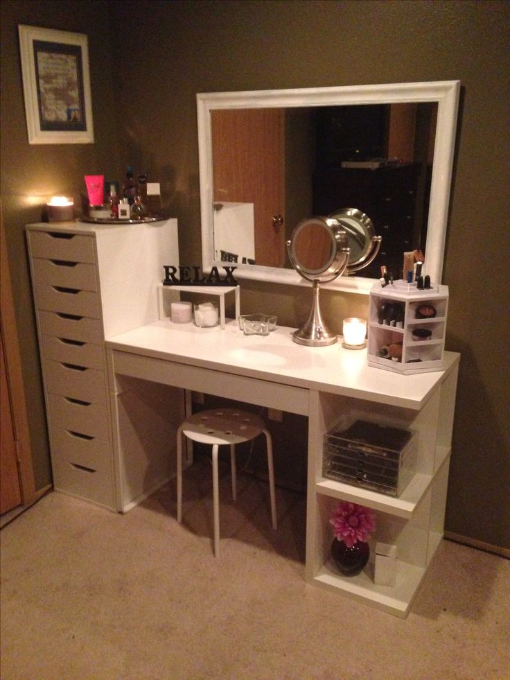 Makeup organization and storage Desk and dresser unit from Ikea  organization  Pinterest