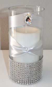 Rhinestone Candle Holder Or Vase with large brooch gem ...