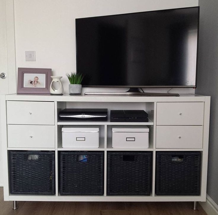 TV stand hack using the IKEA Kallax system adding new
