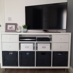 Kitchen Cabinet Shelf Inserts Turquoise Decor Tv Stand Hack Using The Ikea Kallax System, Adding New ...