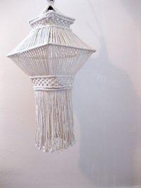 Vintage 1970s // hanging macrame pendant   Lamp shades ...