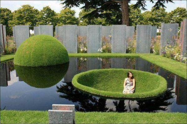 modern garden pond. water