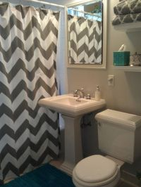 West Elm gray Chevron shower curtain, Sherwin Williams