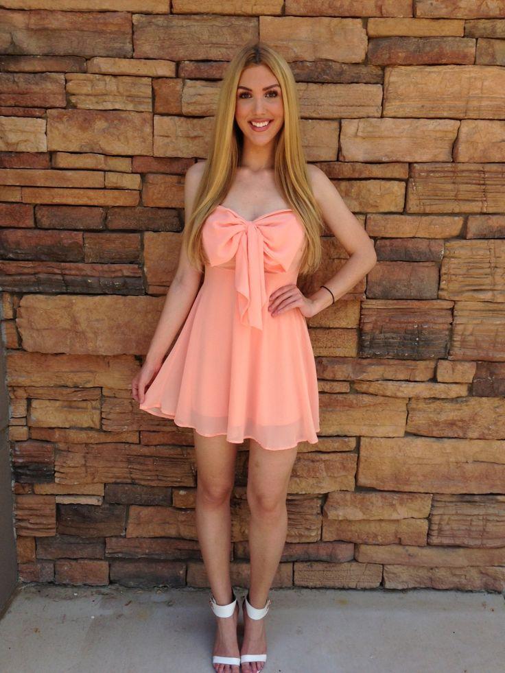 Peach Bow Sweetheart Strapless Dress Httpwwwustrendy