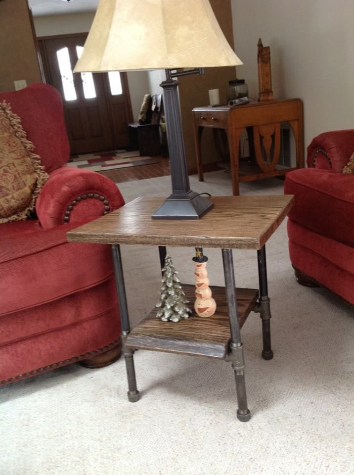 Oak Slab End Table With Black Iron Pipe Legs Tables