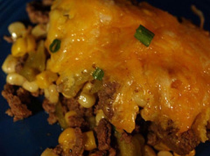 MEXICAN CORNBREAD CASSEROLE  2 bx  cornbread mix   1 lb  ground beef   1 sm  can chopped greeen chilies   1 pkg  taco seasoning