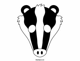 Badger mask templates including a coloring page version of