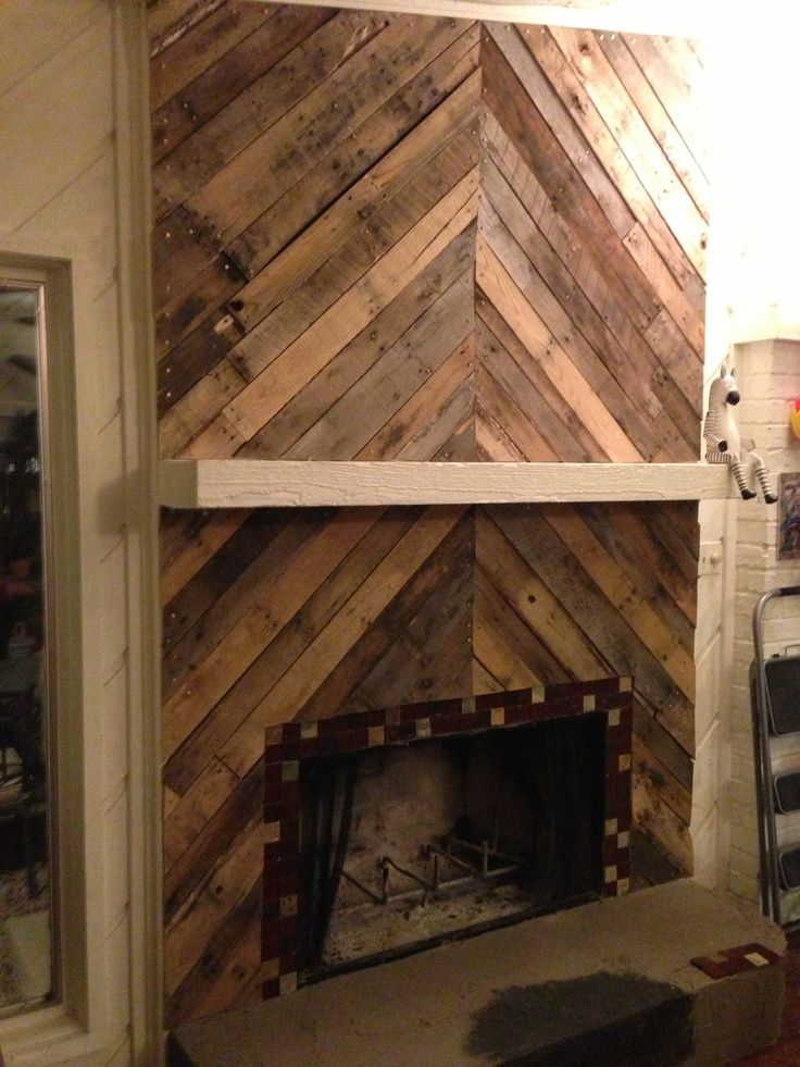 faux wood wallpaper around fireplace with wood mantel  Google Search  Stuff  Pinterest