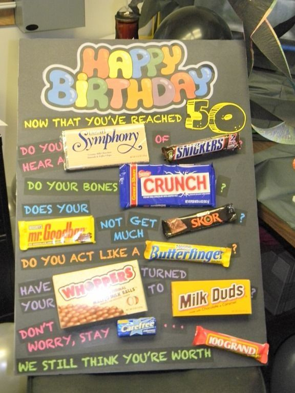 50th birthday poster made with candy bars  50th Birthday Gift Ideas by Dakota Smith  Gifts