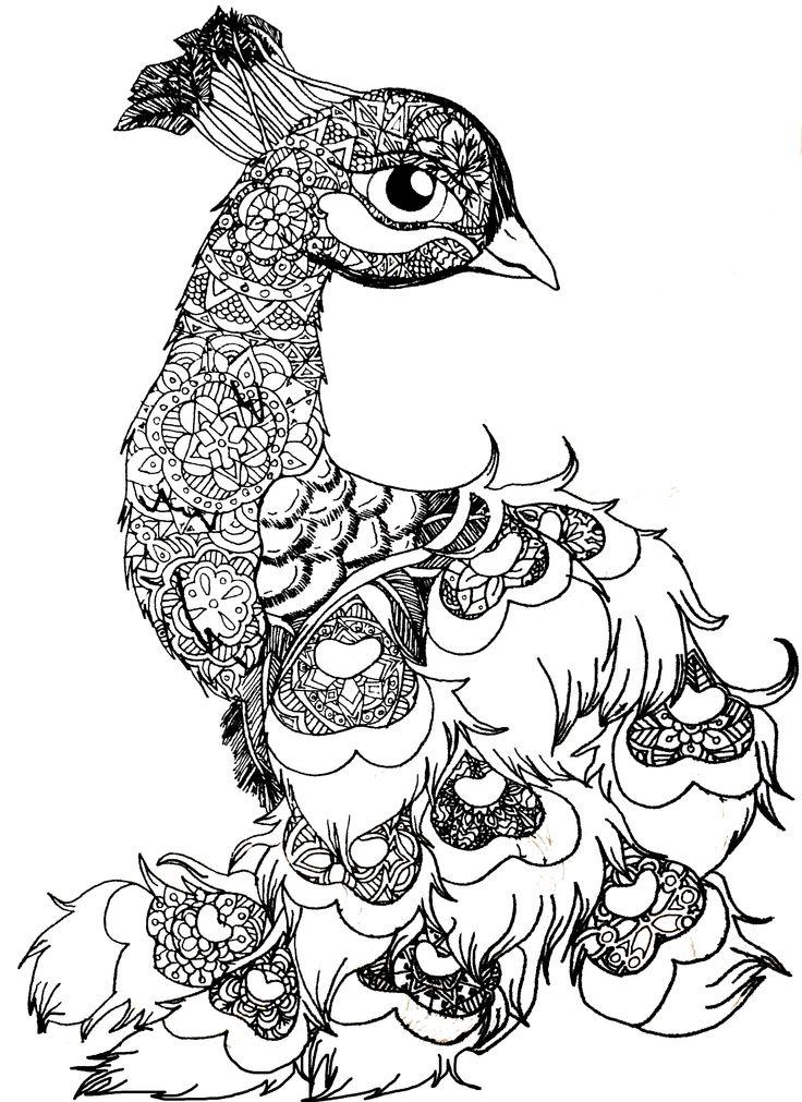 B&W Peacala, peacock,animal,bird,drawing,blackandwhite ... | mandala art coloring pages animals