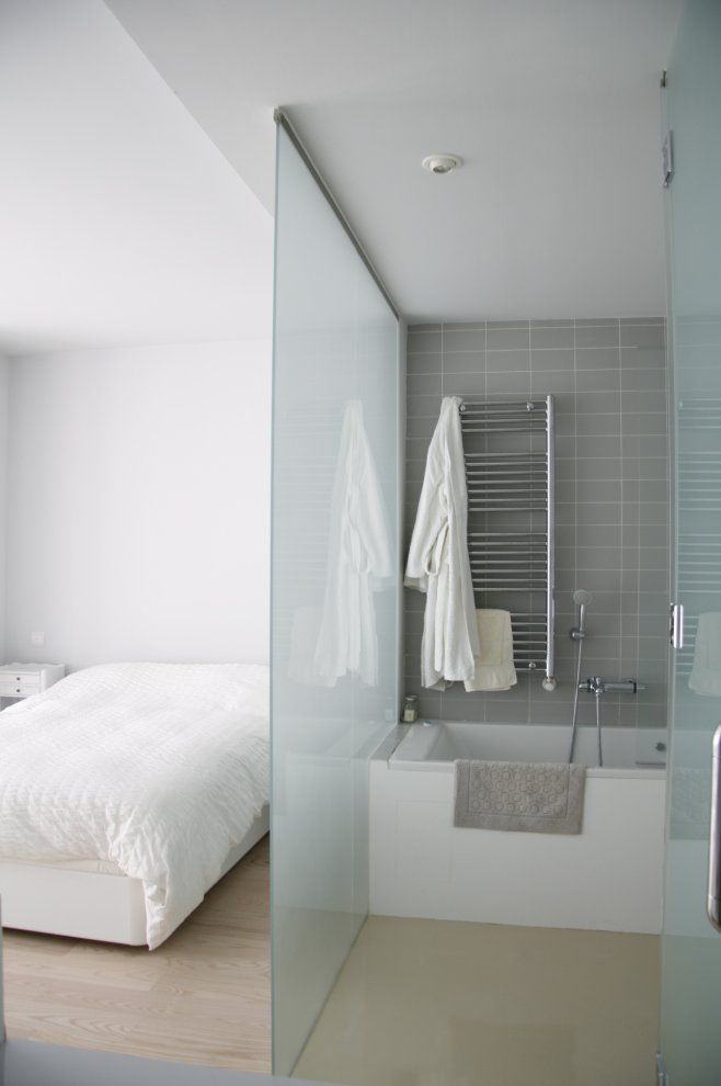 Frosted Glass Divider Between Bedroom & Bathroom   Home