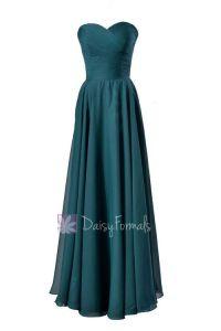 Elegant Long Sweetheart Chiffon Bridesmaid Dress Dark Teal ...