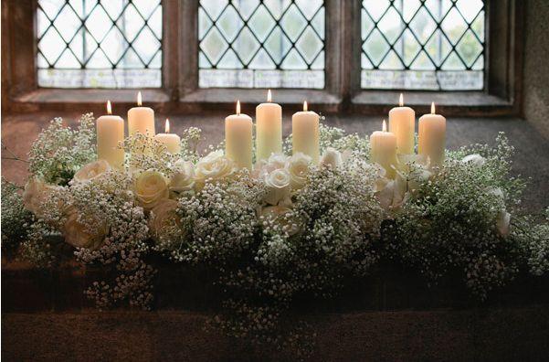 Church wedding flowers with