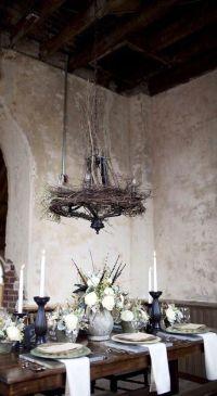 Old world dining, birds nest chandelier, white flower ...