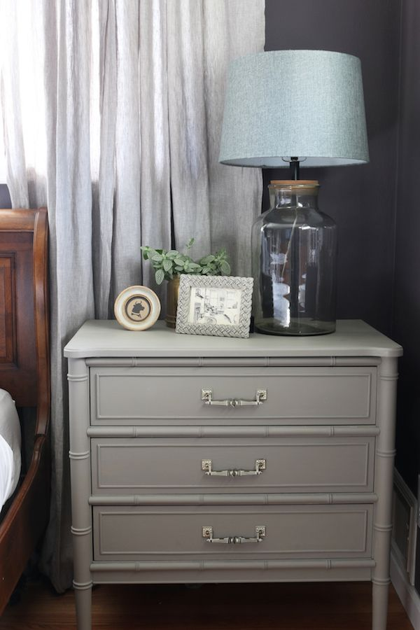 French Linen Annie Sloan Chalk Paint  Painted Henry Link Bamboo Dresser in a plum colored