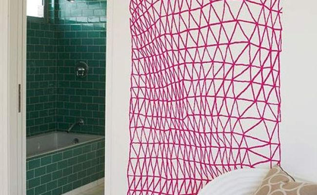 Interesting Pink Yarn Or Rope Or Ribbon Wall Art Idea Diy