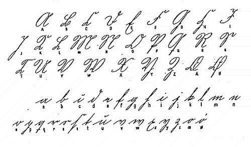 Gotisk alfabet, 1800, skoenskrift. From The Danish State