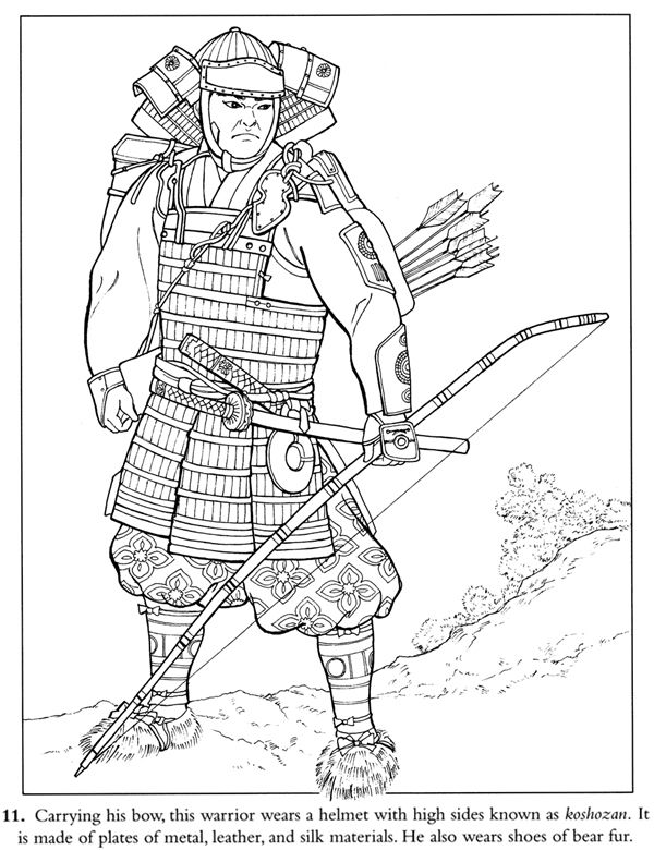 Samurai warrior coloring page free sample--Dover