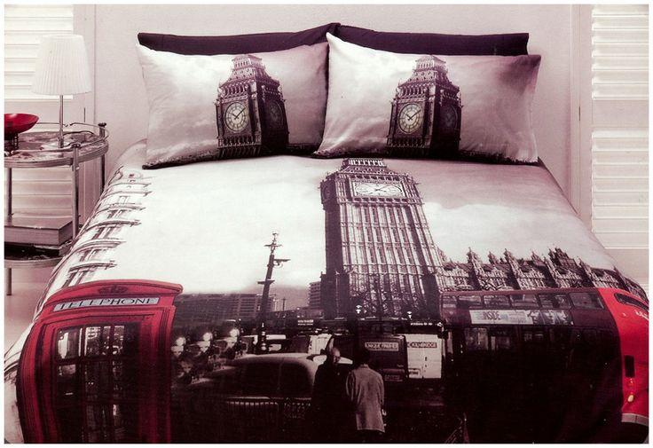 London Quilt Doona Cover Set Queen Size Bedding Big Ben UK Travel Microfibre  Quilt Auction
