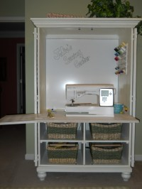 An old TV cabinet was repurposed into a sewing center ...