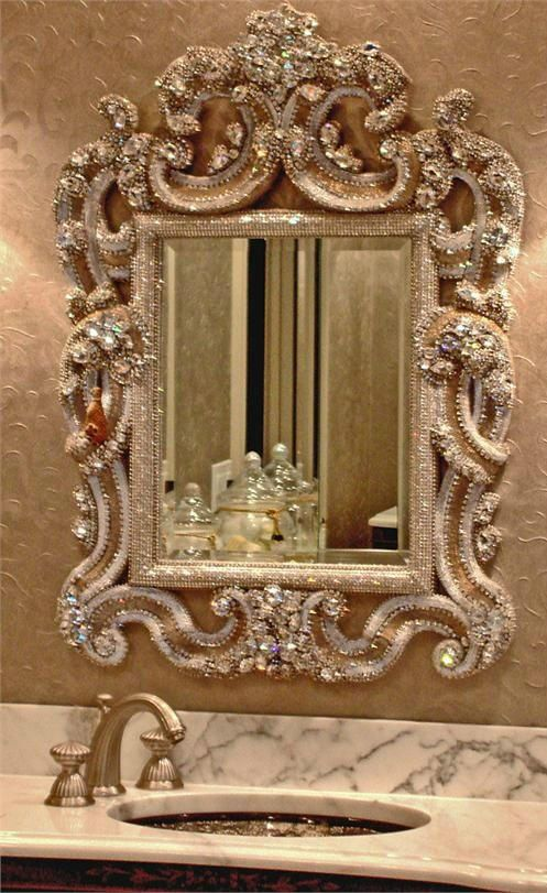 A diamond blinged out wall mirror for the bathroom adds such GLAM  Crazy Bling