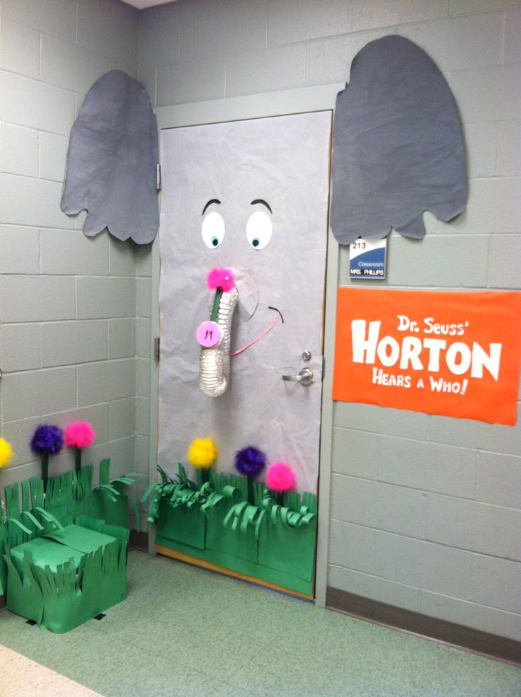"""This is an adorable door display for """"Horton Hears a Who"""