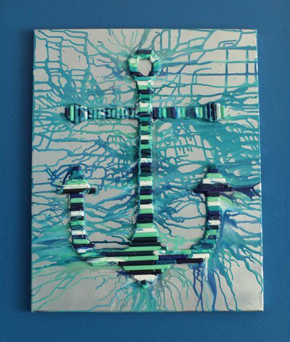 Anchor Crayon Art 16×20 Canvas by MyPopArtShop on Etsy, $50.00
