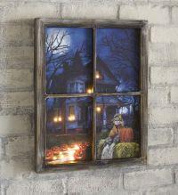 Lighted Halloween Haunted House Window Wall Art ...