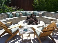 curved outdoor bench and fire pit | fire pits & outdoor ...