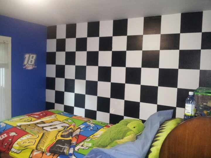 NASCAR Themed Bedroom With Checkered Flag Wall NASCAR Pinterest NASCAR And Flags