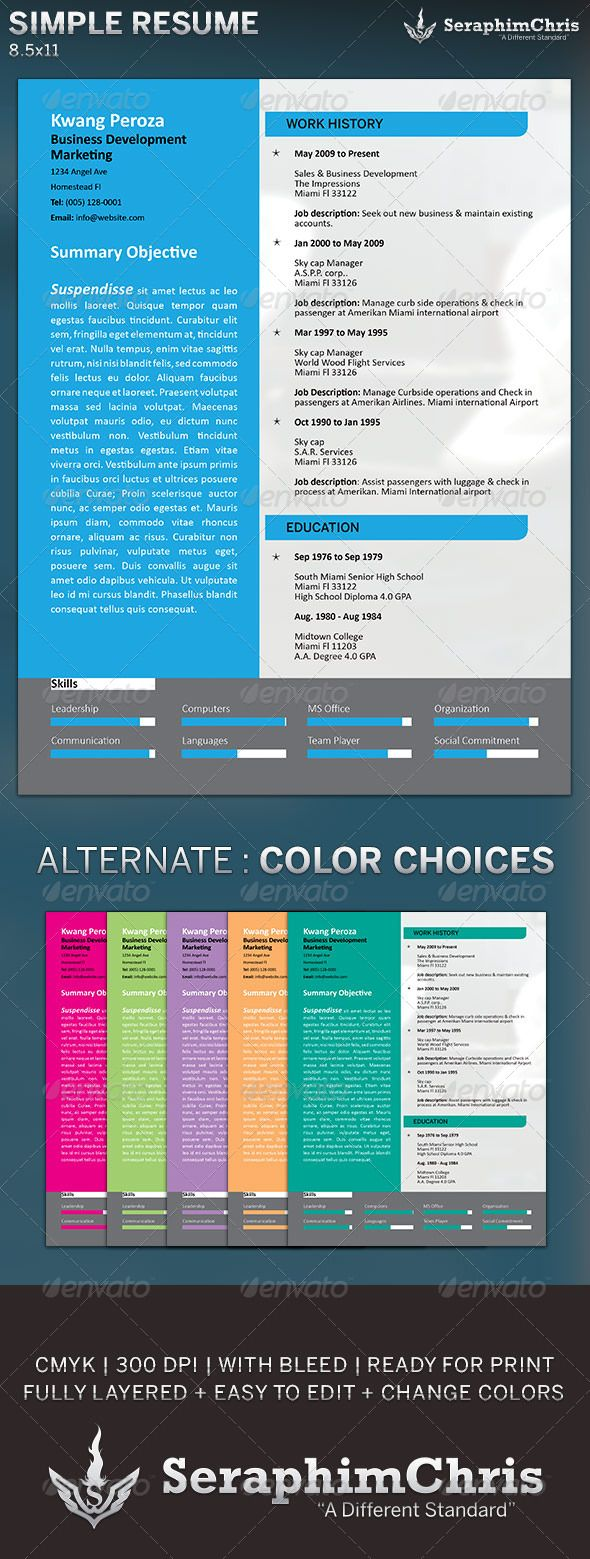 Simple Resume Template  a4 average joe blue business clean layout cover letter creative