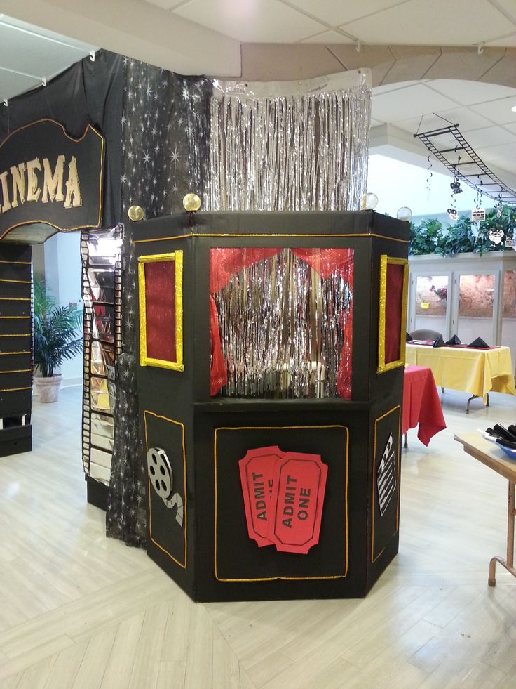 movie ticket booth made out of a refrigerator box  My