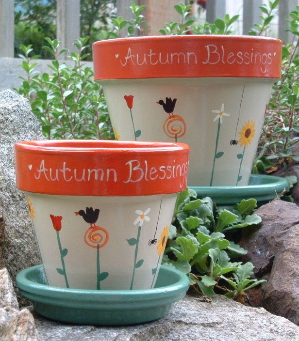 Painted Flower Pot Ideas Annabelle's Angels Hand Painted