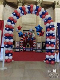 Red White and Blue Veterans' Day balloon arches at Union ...