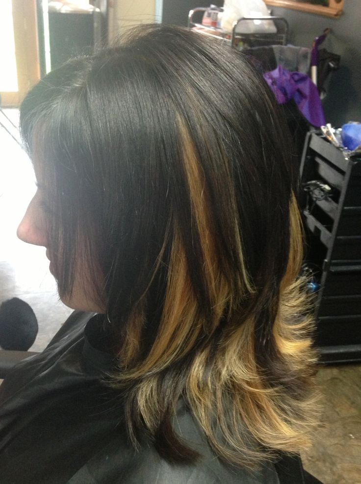 More Hair Color Fun Dark Brown With Blonde Chunky