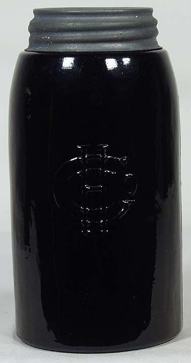 226 Rare BLACK GLASS Quart MASONS 1858 Rev HGCo  Listing  226 This jar sold at auction on
