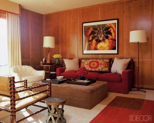 room and board sectional sofa red bed canada when you shouldn't paint the wood paneling | ...
