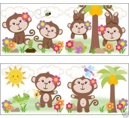 Baby Girl Nursery Wallpaper Borders Girl Monkey Wallpaper Wall Art Border Decals For Baby