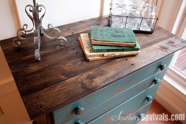 Love this! Get an old dresser and redo the top with stained boards. By Souther Revivals