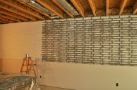 poured basement painted to look like brick | basement ...