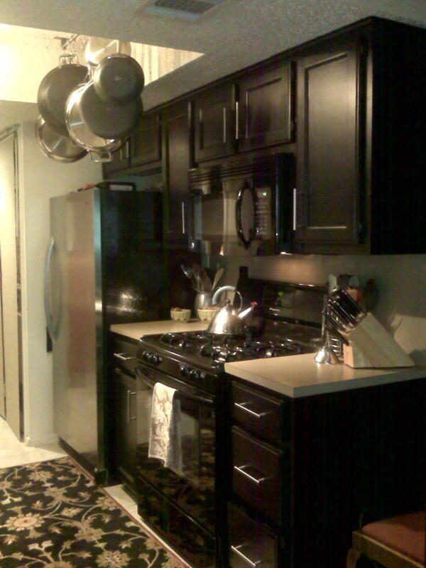 Condo Galley Kitchen black cabinets  kitchen  Pinterest