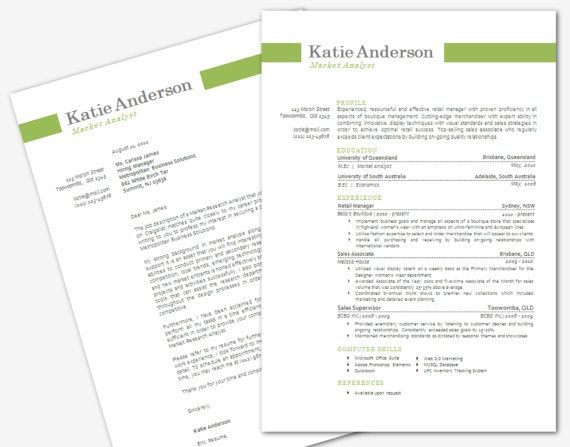 Modern Microsoft Word Resume and Cover Letter Template by Inkpower 1800  Just Cute